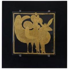 Roger Capron, Gilded Glass, Unique Piece, France, 1995