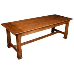 Gothic Revival Oak Plank Top Refectory Table in the Manner of A. W. N. Pugin