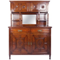 19th Century Arts & Crafts English Oak Sideboard with Sunflower Detail