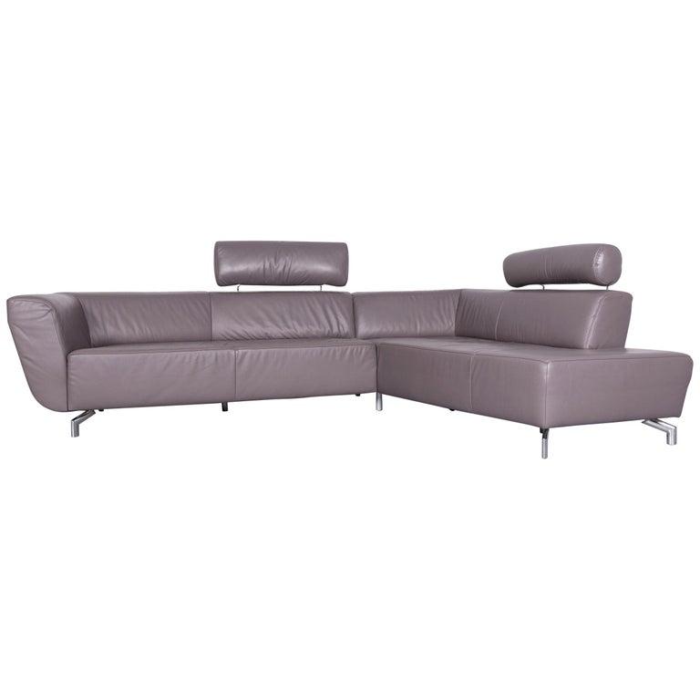 Ewald Schillig Designer Sofa Leather Grey Corner Couch