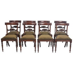 Set of Eight Regency Style Mahogany Bar Back Dining Chairs