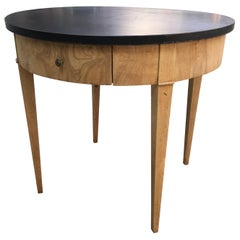 Mid-Century Modern Oak Table with Black Lacquered Top from 1950s