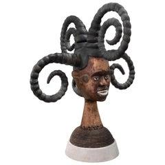 Karl Springer Hand-Carved African Sculpture on Custom Suede Base, 1980s