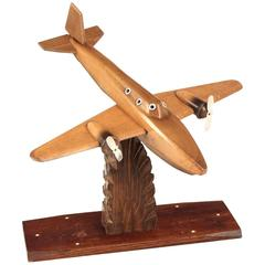 French Art Deco Wooden Bi-Engine Airplane Model