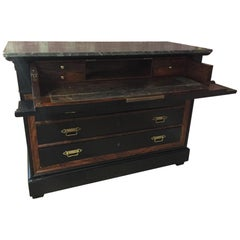 19th Century Italian Writing Desk and Drawer with Gray Marble Top from 1890s