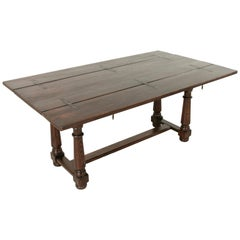French Oak Hunt Folding Table, Console, Sofa Table with Iron Hinges