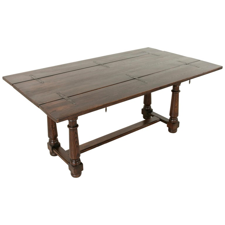 French Oak Hunt Folding Table Console Sofa With Iron Hinges For