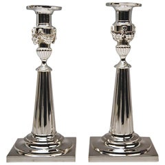 Silver Pair of Candlesticks Period of Classizism Augsburg Germany Haller