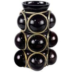 Enlace Black Glass Spheres Vase