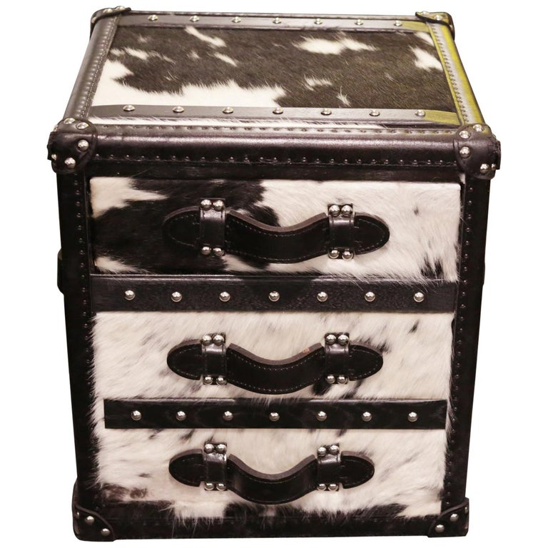 Wild Black and White Cowhide Cube Chest