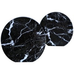 Modernist Italian Black Marble Bookends