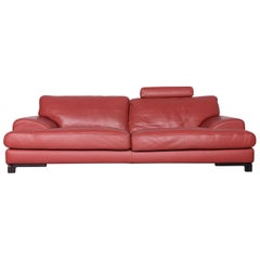 Roche Bobois Designer Leather Sofa Red Two-Seat Couch