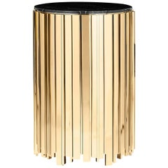 Partenon Medium or Small Side Table with Gold Plated Brass
