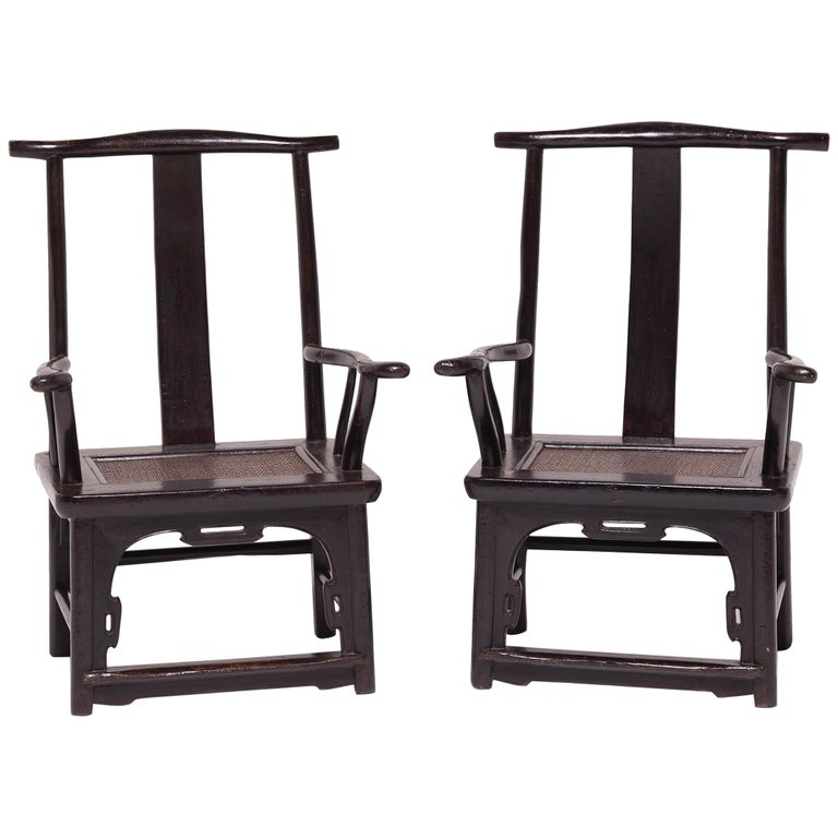 Pair of 19th Century Chinese Tall Back Porch Chairs For Sale