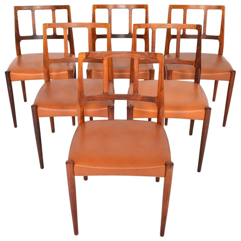 Set of Six Johannes Andersen 'Louise' Rosewood Dining Chairs