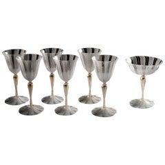 Six Zanfirico Glasses and a Goblet, by Salviati Murano