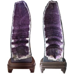 Monumental Pair of Amethyst Geode Specimens on Stands