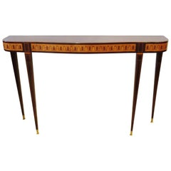 Fine Italian Modern Rosewood and Walnut Marquetry Console Table, Paolo Buffa