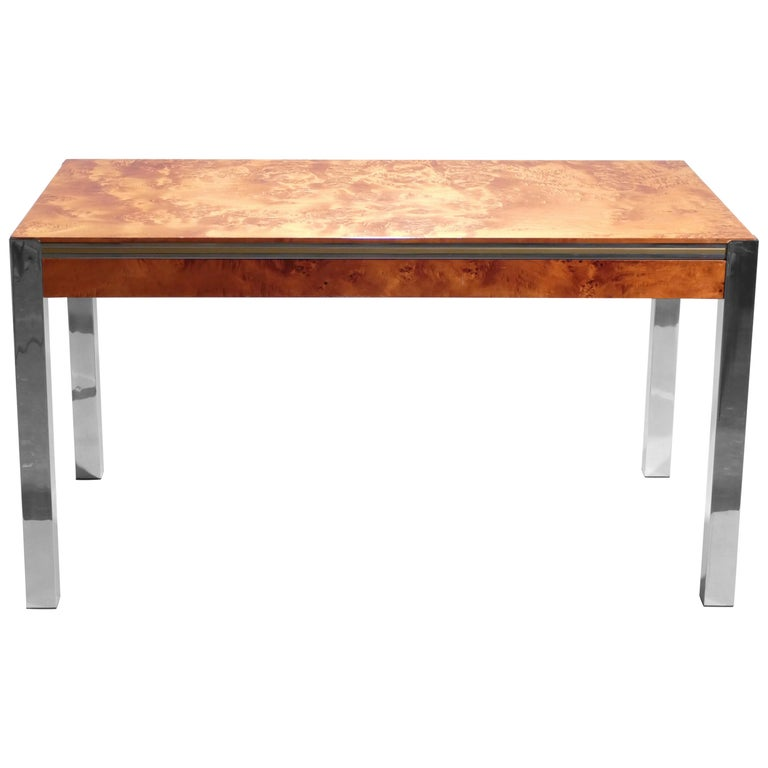 Willy Rizzo Burl Chrome Brass Dining Table, 1970s