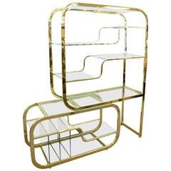Mid-Century Modern Baughman Brass Glass Expandable Étagère Shelving Unit 1970s