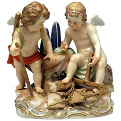 Meissen Figurines Cherubs Allegory of Trading Model C42 by Schoenheit