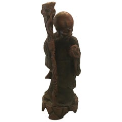 Antique Chinese Wood Carved Sculpture of a Scholar
