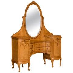 Antique Danish Pine Vanity with Beveled Mirror