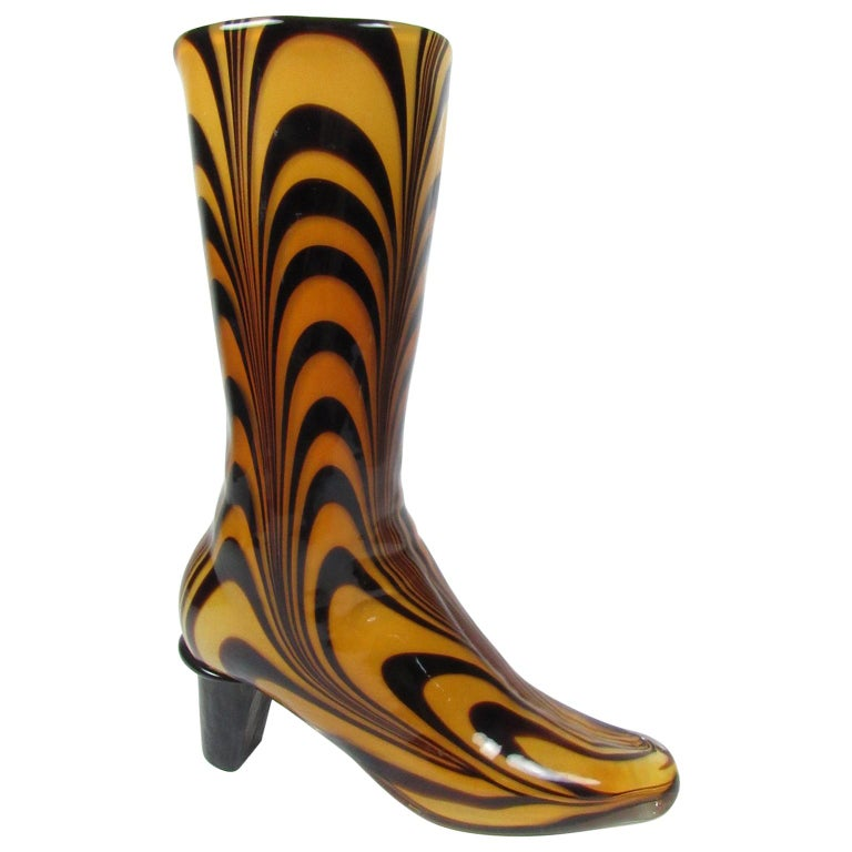 Mid-Century Modern Murano Glass Vase in the Shape of Ladies Boot