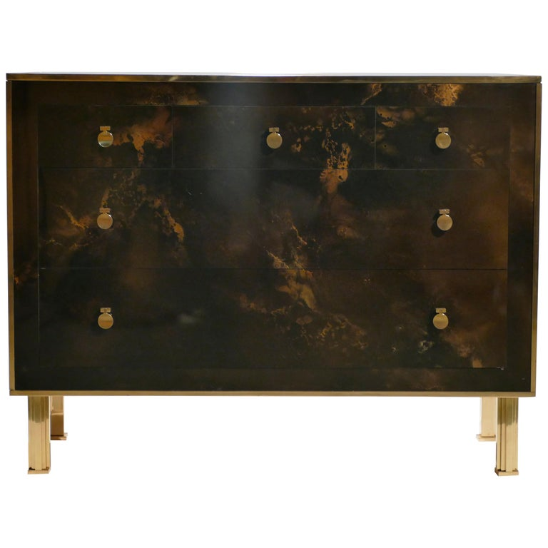 Rare Golden Lacquer and Brass Maison Jansen Chest of Drawers, 1970s