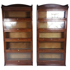 Fine Pair of Edwardian Oak 5 Section 'Lebus' Stacking Bookcases