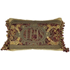 18th Century Italian Metallic Embroidered Velvet Pillow