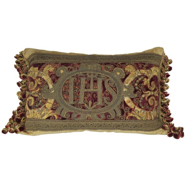18th Century Italian Metallic Embroidered Velvet Pillow