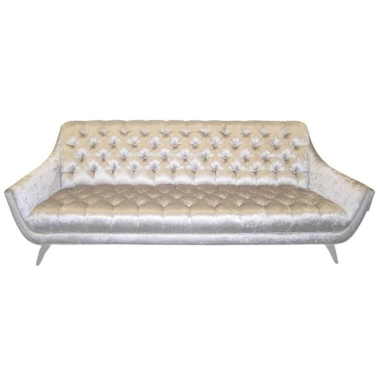 Amazing Regency Modern Silver Grey Velvet Tufted Sofa Mid-Century Modern
