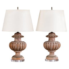 Pair of Vintage Italian Wood Lamps Painted Finish, circa 1940 on Lucite Base