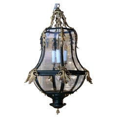 French Black Iron and Gilt Bronze Lantern Chandelier with Glass Inserts