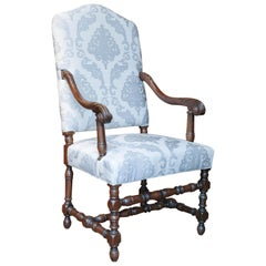 Pair of French Renaissance Style Armchairs with High Backs