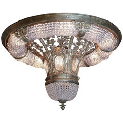 Majestic Large French Cast Bronze and Crystal Flush Mount Chandelier with Beads