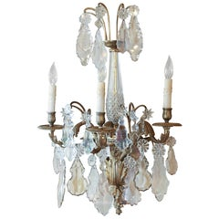 Majestic Pair of French Bronze Sconces, Late 19th Century with Baccarat Crystal
