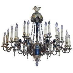 French Empire Style Cast Bronze Doré and Patinated Frame Chandelier, 24 Lights