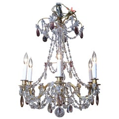 Gilt Bronze and Crystal Chandelier in the Marie Antoinette Style