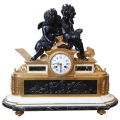 French Gilt Bronze Clock, circa 1850 on Marble Base Signed Dussault