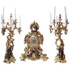 19th Century Three-Piece Clock Garniture Set, Gilt Bronze and Patinated Bronze