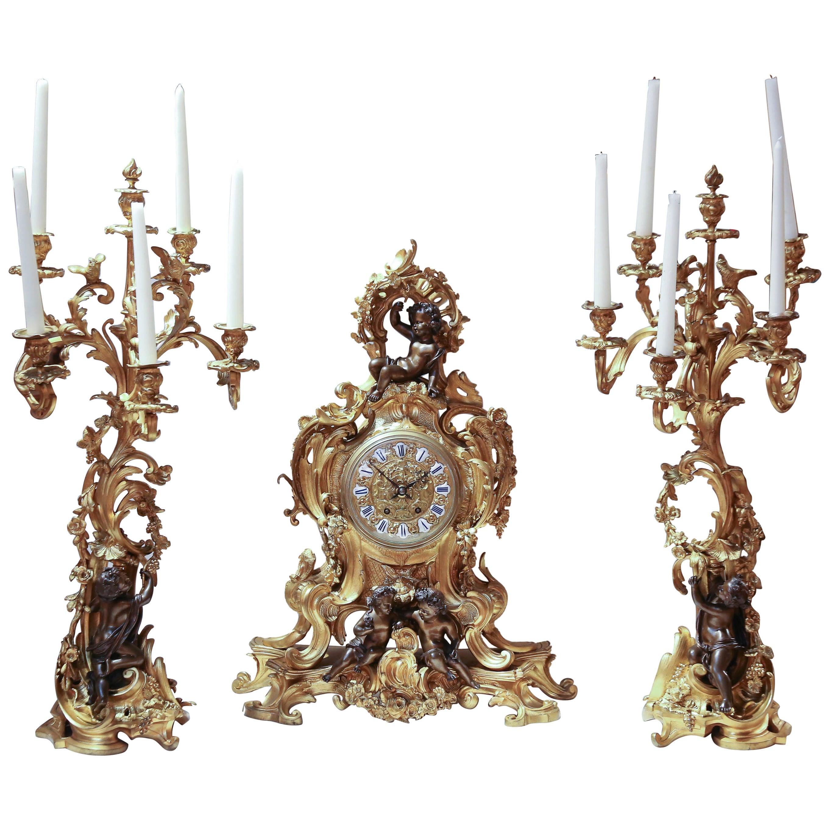 19th Century Three-Piece Clock Garniture Set, Gilt Bronze and Patinated Bronze
