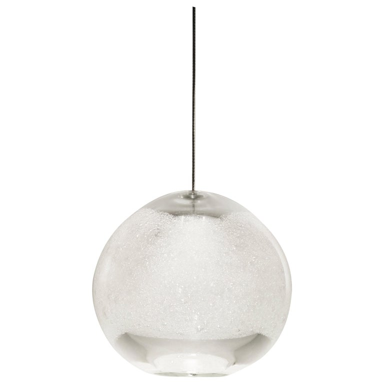 Artisan Blown Glass Shade • Clear Bubble Orb Pendant Light • Made in USA