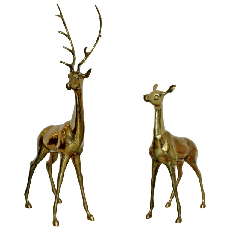 Mid-Century Modern Pair Brass Bronze Deer Floor Sculptures Statues