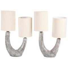Pair of Organic Ceramic Lamps by Kelby