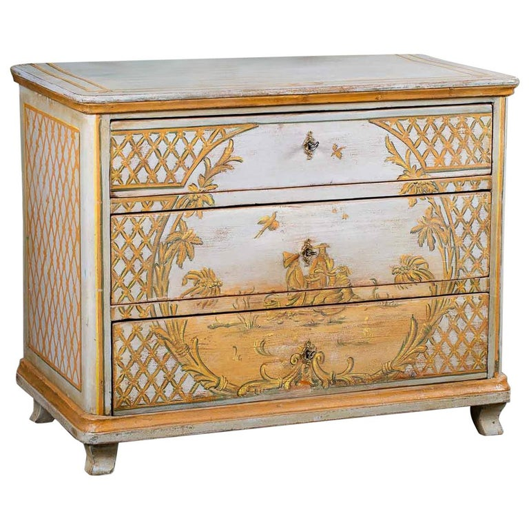 Antique German Biedermeier Painted Chest Three-Drawers For Sale