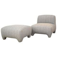 Slipper Chair / Armchair with Ottoman by Tinatin Kilaberidze