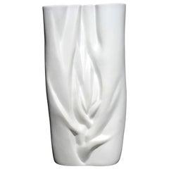 Modernist White Porcelain Meissen Vase Stamped