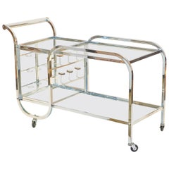 Jacques Adnet Chrome Bar Cart